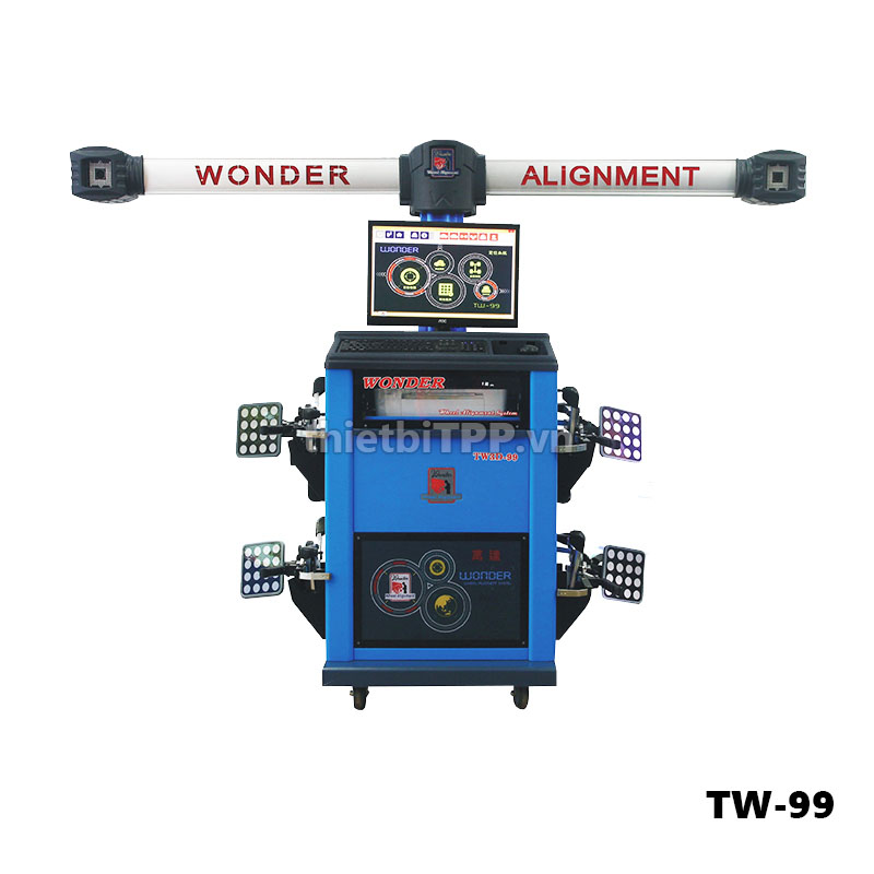 wonder tw-99 taiwan, may can chinh goc lai tw-99, may can chinh thuoc lai tw-99, thiết bị cân chỉnh độ chụm tw-99, can chinh oto 3d tw-99, can chinh do chinh thuoc lai tw-99