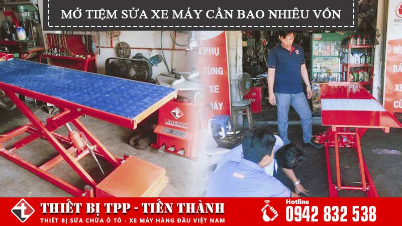 mở tiệm sửa xe cần bao nhiêu vốn, mo tiem sua xe may can bao nhieu von, ban nang xe may, may bom hoi, tu dung cu, may ve sinh buong dot, may suc rua kim phun, may doc loi xe may, thiet bi sua xe may