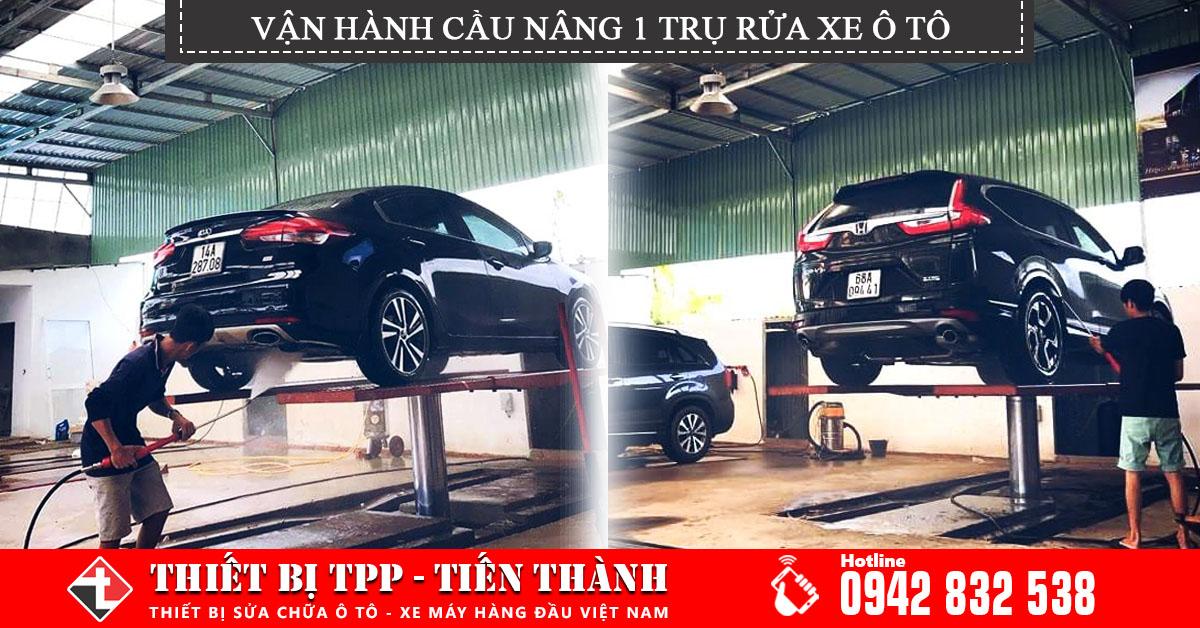Van Hanh Cau Nang 1 Tru Rua Xe Va Cac Buoc Rua Xe Hoi Theo Quy Trinh, cầu nâng rửa xe, cần nâng 1 trụ rửa xe