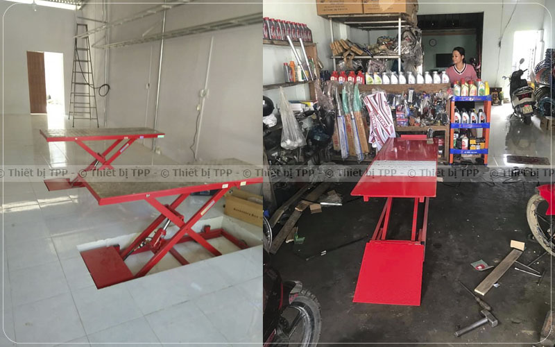 Phan Loai Va Su Dung Ban Nang Sua Chua Xe May Phu Hop Voi Tiem Sua Xe, bàn nâng xe máy âm nền, bàn nâng xe máy dương nền