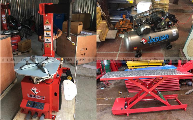 máy nén khí bình bơm hơi, bàn nâng xe máy, bàn nâng sửa chữa xe máy, máy ra vào lốp xe máy, máy thao , máy tháo vỏ xe