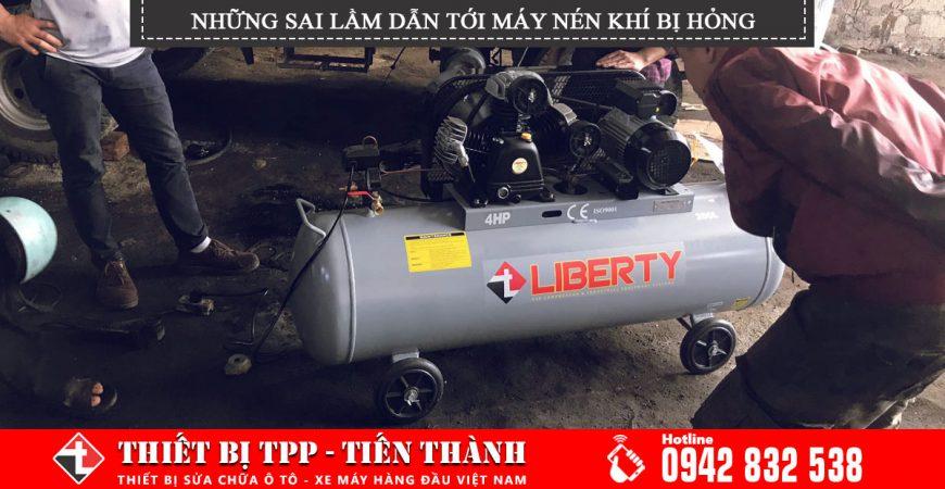những sai lầm khi sử dụng máy nén khí, máy nén khí 200 lít, máy nén khí 4hp, máy bơm hơi khí nén giá rẻ