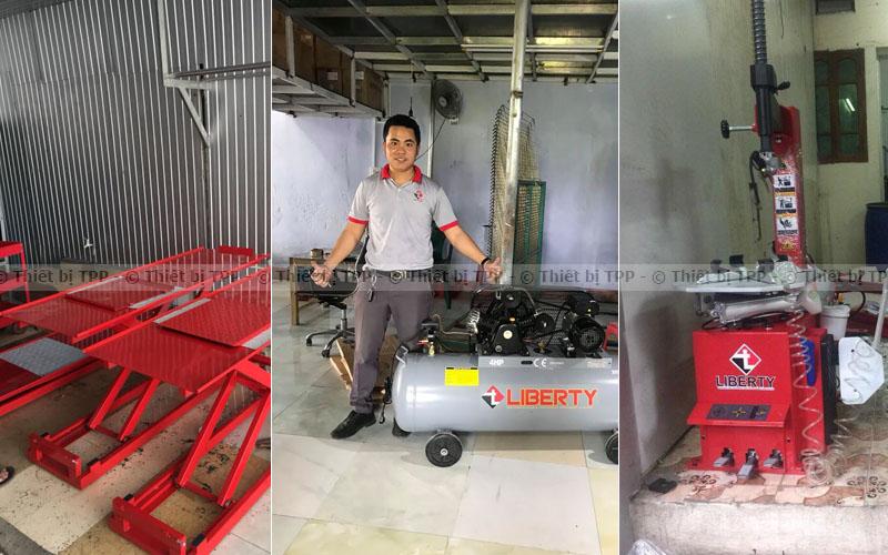 Máy tháo lốp, máy nén khí, bàn nâng xe máy