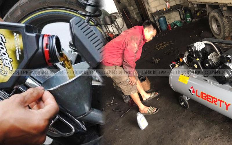 Cần thay nhớt thường xuyên để khắc phục tình trang xe máy bị nóng, máy bơm hơi, bình bơm hơi