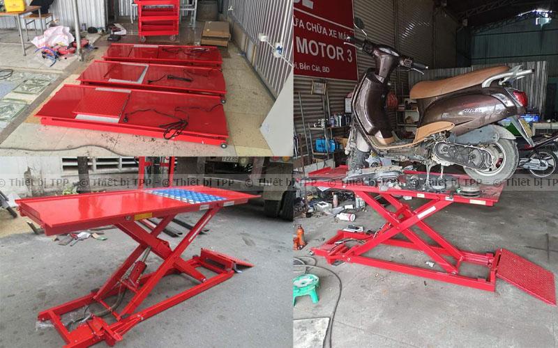 bàn nâng cơ, bàn nâng dùng cơ đạp, bàn nâng xe máy đạp chân, bàn nâng xe máy dùng cơ chân đạp