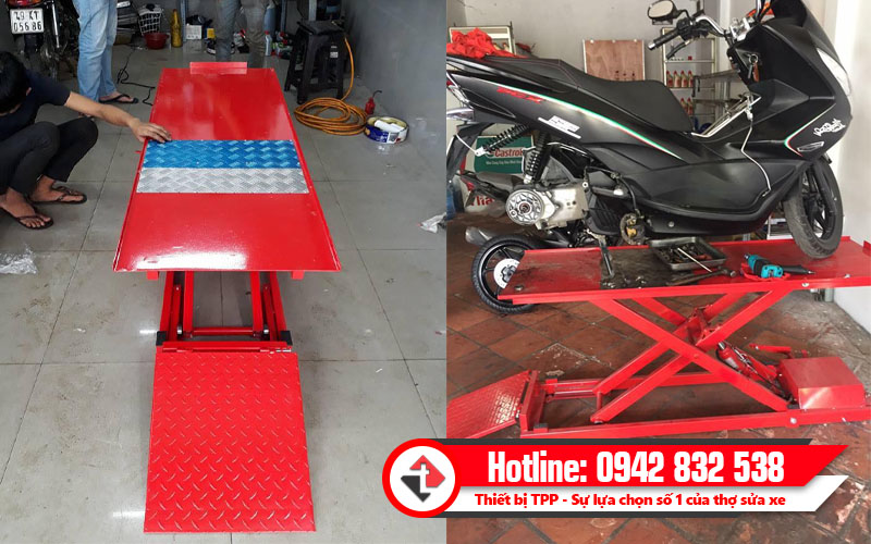 bàn nâng sửa xe máy, bàn nâng sửa xe dùng điện và cơ, bàn nâng sửa xe đạp chân, bàn nâng sửa chữa cơ chân đạp