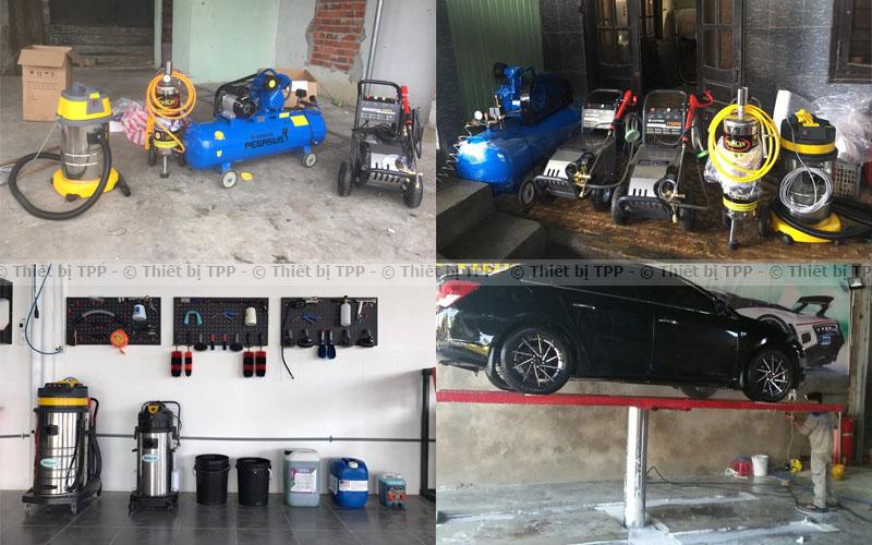 cầu nâng rửa xe, máy rửa xe, ben nâng rửa xe, máy nén khí, dụng cụ rửa xe