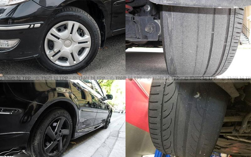 bánh xe bị mòn 1 bên, bánh xe bị lệch, bánh xe bị mòn không đều, vô lăng bị cứng
