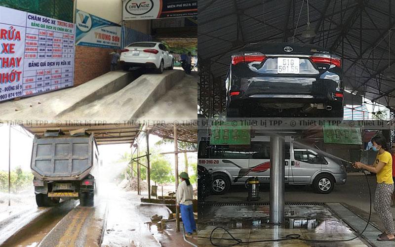 bệ rửa xe bằng xi măng, bệ xinh măng rửa xe ô tô, bệ nâng ô tô bằng xi măng, bệ rửa xe hơi xi măng giá rẻ
