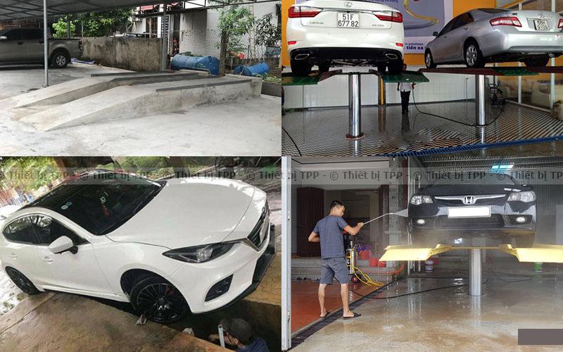 cầu nâng rửa ô tô, ben xi măng rửa xe, cầu nâng rửa xe hơi, ben nâng rửa xe hơi