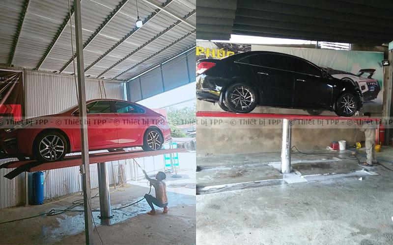 cầu nâng rửa xe, cầu nâng 1 trụ, sàn nâng rửa xe, cầu 1 trụ rửa xe ô tô, giàn nâng rửa xe