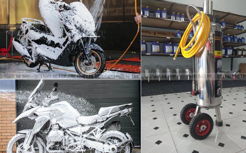 rửa xe máy bọt tuyết
